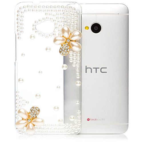 iCues | Compatible with HTC One M7 | Pearl Flower Case Clear | [Screen Protector Included] Crystal Diamond Clear Cover Rhinestone Shell Bling Glitter Women Girl Floral