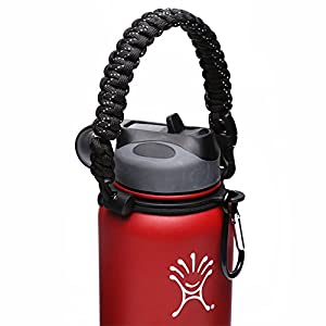 Handle for Hydro Flask - Paracord Survival Strap with Security Ring for Wide Mouth Water Bottles Carrier (Black/White Point Reflex)