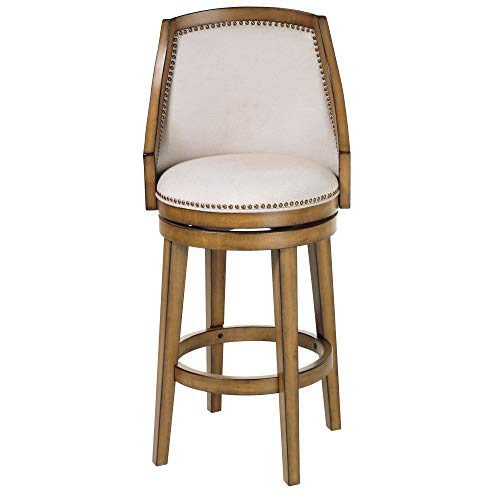 (Leggett & Platt Charleston Swivel Seat Bar Stool with Acorn Finished Wood Frame, Putty Upholstery and Antique Brass Nailhead Trim, 30-Inch Seat Height)