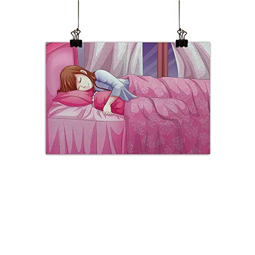 Michaeal Anime Art-Canvas Prints Cartoon Illustration of a Sleeping Girl Japanese Culture Manga Themed Style Artwork Print Canvas Art Posters Prints Wall Art Pink W32 x H24