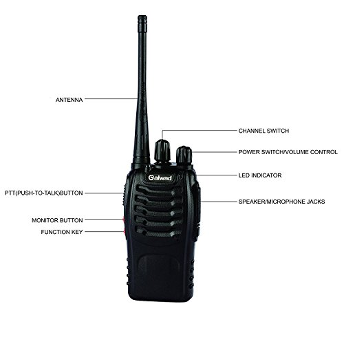 Ammiy Galwad 888S Walkie Talkie 2pcs in One Box with Rechargeable Battery Headphone Wall Charger Long Range 16 Channels Two Way Radio (2pcs radios)
