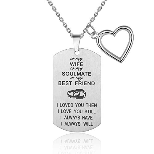 to My Love Husband Wife Soulmate Best Friend I Love You Forever Dog Tags Necklace Stainless Steel Military Dogtags Necklace (Wife And My Best Friend)