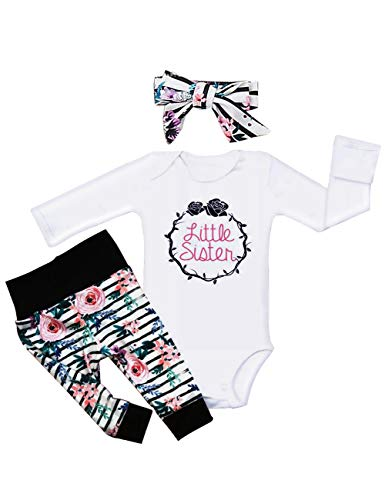 Newborn Baby Girl Clothes Little Sister Romper Top,Floral LeggingsPants+Cute Headband Outfit Set