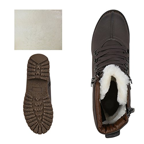 best-boots Damen Stiefelette Boots Worker Stiefel Grau Weiss Nuovo
