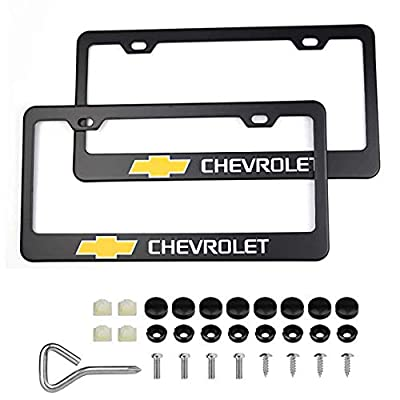 2Pcs Newest Matte Aluminum Alloy Logo License Plate Frame for Chevrolet, with Screw Caps Cover Set, Applicable to US Standard car License Frame: Automotive