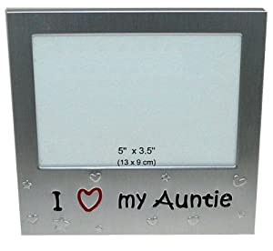 i love my auntie expressions photo picture frame gift 5 x 35 brushed aluminium satin silver color