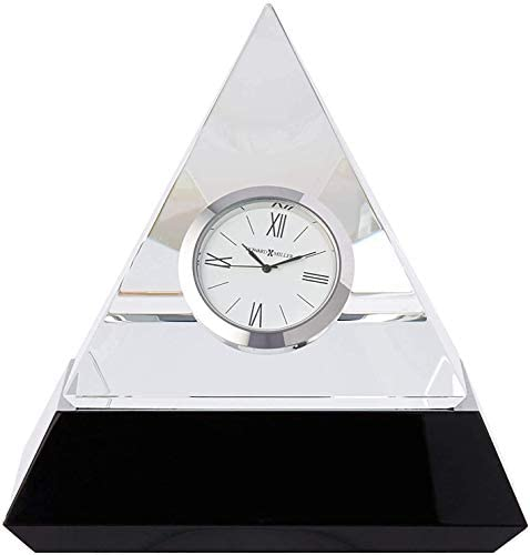 Howard Miller Summit Table Clock 645-721 Optical Glass Crystal Pyramid with Quartz Movement