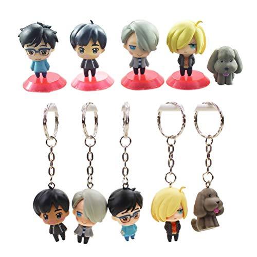 LVCL Ltd 5pcs/Set Anime Yuri!!! on ICE Yuri Katsuki Victor Nikiforov Yuri Plisetsky Phichit Chulanont PVC Figures Keychain pandent Toys