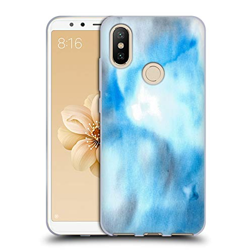 Official Julien Corsac Missaire Marbled Milk Blue Grey Abstract Soft Gel Case for Xiaomi Mi A2 / Mi 6X -  Head Case Designs, HTPCR-MIA2-JMISABS-BGR