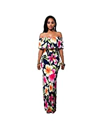 Women Floral Summer Beach Boho Party Evening Maxi Long Dress Sundress