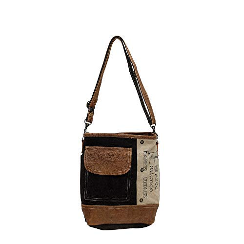 Myra Bags Peace Pocket Upcycled Canvas & Denim Shoulder Bag S-0895