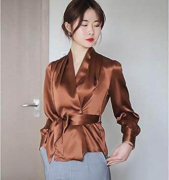 HANGON - Camisa de seda sintética con lazo y escote en V para mujer, de satén, elegante cárdigan de manga larga con cinturón 2018 Marrón marrón Talla única: Amazon.es: Ropa y accesorios