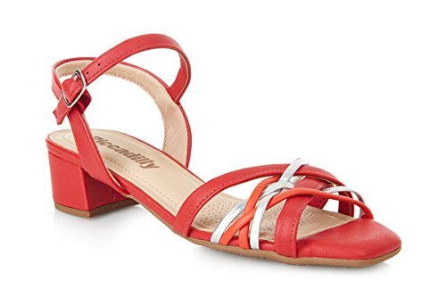 Piccadilly 161135 Comfortable Padded Block Heel Sandal Red GfsLjPhKm3
