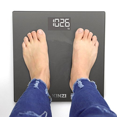 "Kinzi New Precision Digital Bathroom Scale w/Extra Large Lighted Display and""Step-On"