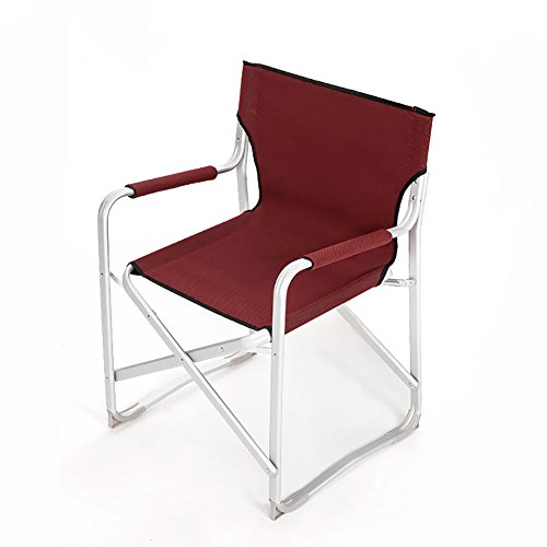 ZXL Aluminum Alloy Folding Chair Outdoor Park Camping Beach Portable Fishing Chair (Color : Red wine)
