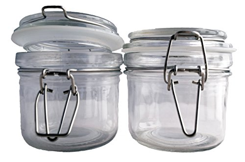 24ct. Premium 8oz Reusable Airtight Chefs Glass Spice and Salt Jar with Metal Clasp by The Premier Salt Company