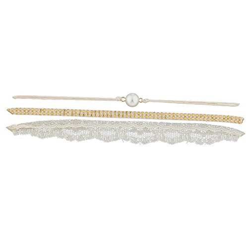 (Lux Accessories Trendy Womens Faux Ivory White Imitation Pearl Pretty Lace Choker Necklace 3Pc)