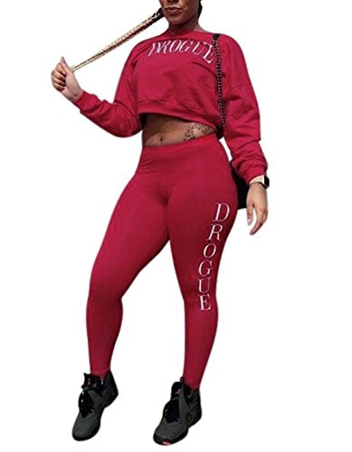 Dreamparis Women's 2 Pieces outfits Long Sleeve Crop Top+High Waist Skinny Pants Bodycon Sweatsuits Tracksuits Set Large Red