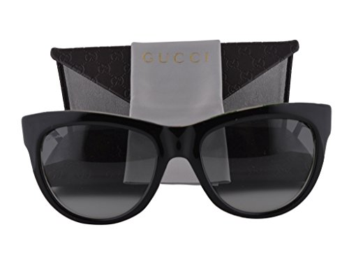 Gucci GG 3739/S Sunglasses Black Floral Crystal w/Gray Gradient Lens 2ENVK - Crystals Sunglasses With Gucci Aviator