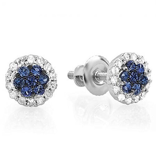 (Dazzlingrock Collection 10K Blue Sapphire & White Diamond Ladies Cluster Flower Stud Earrings, White Gold)