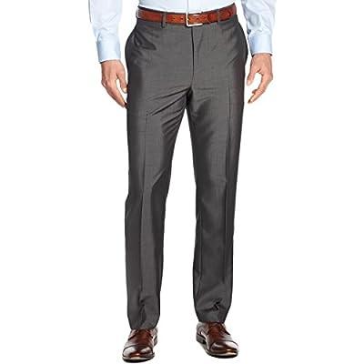 Calvin Klein Slim Fit Dark Grey Pindot Flat Front New Mens Dress Pants