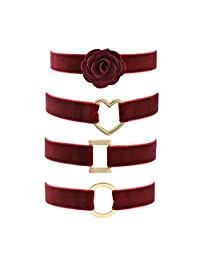 Paialco Wine Red Velvet Belt Gothic Choker Necklace 12-15 Inches