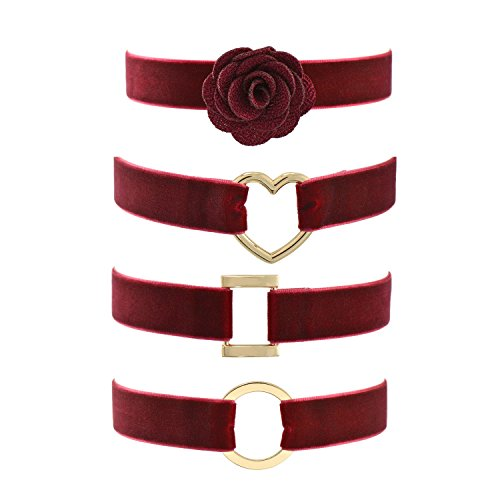 Wine Red Velvet Belt Gothic Choker Necklace 12-15 Inches, Flower Round Heart Rectangle 4pcs Set
