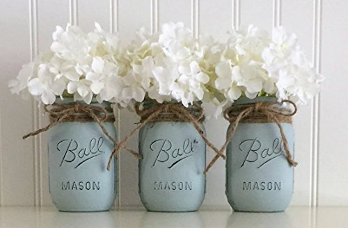 Mason Jar Set - 3 Piece, Vintage Blue, Centerpiece -