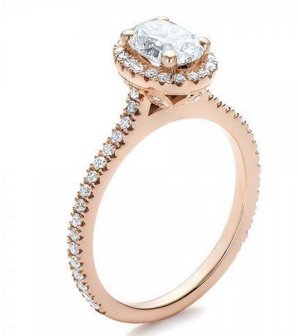 Gowe Coupe Ovale 1CT Esdomera moissanites Halo Or 9K solide Or jaune Bague de fiançailles Lab Cultivées en diamant