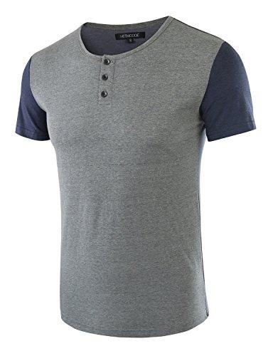 HETHCODE Men's Classic Comfort Soft Regular Fit Short Sleeve Henley T-Shirt Tee Slate Green/Cadet Blue - Shirt T Slate