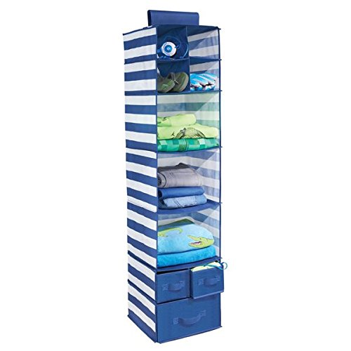 mDesign Fabric Hanging Closet Storage Organizer with Shelves and Pull Out Drawers - Navy/White