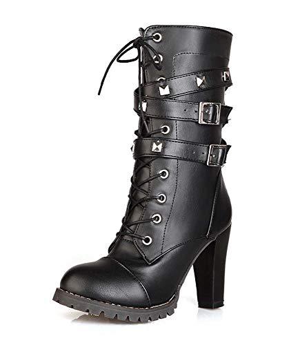 SHINIK Mujeres Remache Punk Boots cómodo Lateral Zip Martin Botas de tacón Alto de Gran tamaño Negro