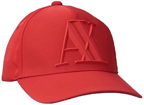 Armani Exchange Men's 3D Rubber AX Tonal Logo Hat, Absolute red UNI