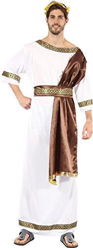 Men's Grecian Greece Roman Fancy Dress Outfit Greek God Costume With Brown Sash