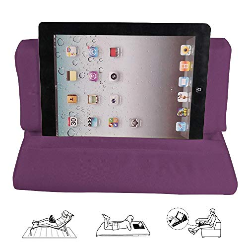 FOONEE Pad Pillow Stand, Tablet Sofa, Laptop Pillow Holder, Mini Tablet Computer Holder for IPad Air, Tablets, E-Readers, Smartphones, for Airplane, with Pocket(Purple)