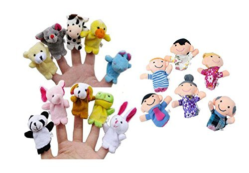 Nakimo 16pcs Story Time Finger Puppets-10 Animals 6 People Family Members Educational Puppets