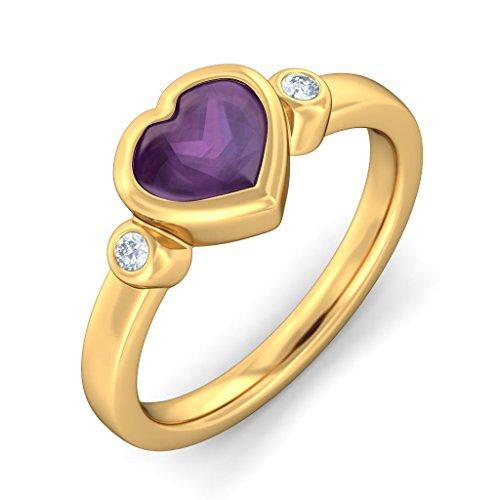Or jaune 18K, 0.06CT TW Diamant Blanc (IJ | SI) Améthyste et diamant Bague