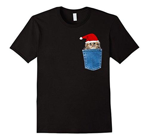 Men's Cat in a Denim Pocket Christmas Kitty T Shirt 2XL (Kitty Denim Shirt)