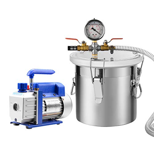 SUNCOO Vacuum Pump Kit, 2 Gallon Stainless Steel Vacuum Chamber with a 3CFM Blue Pump HVAC Single Stage Rotary Vane Deep Electric 110V AC Refrigerant Charge 1/4HP
