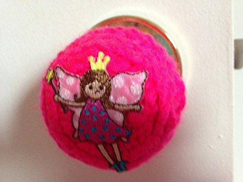 Door knob Cover Fairy crochet handmade pink yelllow glitter (Pink Knob Polka Dots)