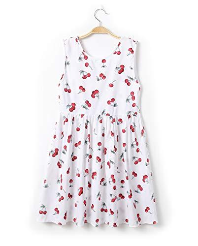 (Sitmptol Kids Big Girl Sunflower Print Sleeveless Hawaiian Party Dress Sundress Summer Clothes 160 Red Cherry)