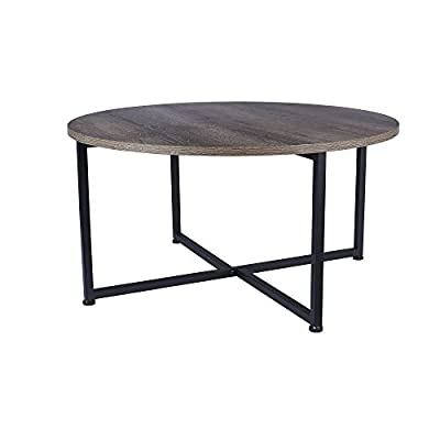 Household Essentials Grey Top Black Frame Ashwood Round Coffee Table - ROUND COFFEE TABLE with strong metal frame and distressed ashwood decorative top SMOOTH LAMINATE TOP that can be cleaned easily with a feather duster or cloth X FRAME LEGS PROVIDE STABILITY while maintaining ample space for legs if kneeling or sitting near - living-room-furniture, living-room, coffee-tables - 41GdaT5SyTL. SS400  -