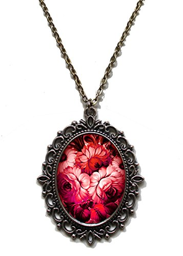 - Victorian Vault Art Painting Floral Vintage Flowers Steampunk Pendant Necklace on Chain (Red)