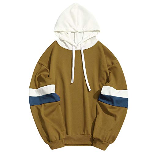 WOCACHI Clearance Sale Mens Hoodies Patchwork Striped Long Sleeve Hooded Sweatshirt Pullover Promotion Autumn Winter Warm Trench Coats Windbreaker Sweaters Sweatshirts (Yellow, Small) -