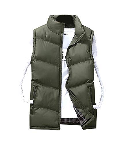 Howme Men Down Vest Mandarin Collar Parka Jackets Winter Outdoor Coat Army Green 2XL