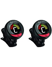 Clip on tuner - 2 pack with batteries included for guitar, violin, bass, viola, ukulele. Professional grade tuner. ROWIN LT-21 (Black)