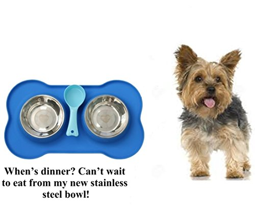 MCBInfinity-Small-DogBowl-Set-With-Silicone-Mat-Feeder-Stainless-Steel-Bowls-BONUS-Pet-Food-Scoop-Ebook-Suitable-For-Small-Dogs-CatsPuppies-Bone-Shape-2x12-Ounce-Food-Water-Bowl