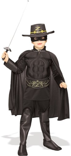 Hat Zorro And Mask (Rubie's Costume Zorro Deluxe Muscle Chest Child Costume,)