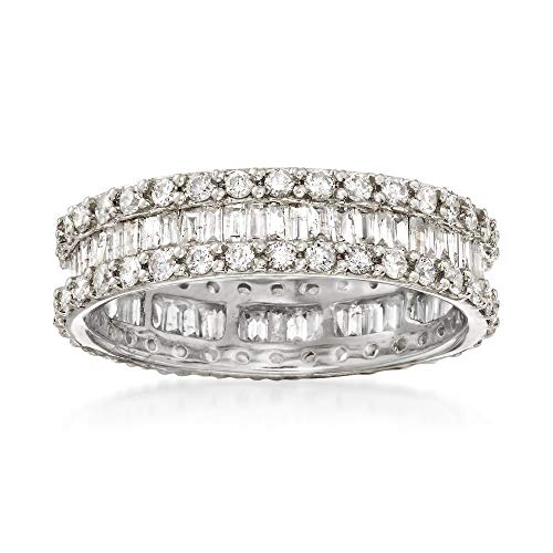 - Ross-Simons 1.50 ct. t.w. Brilliant and Baguette-Cut Diamond Eternity Band in 14kt White Gold With Rhodium