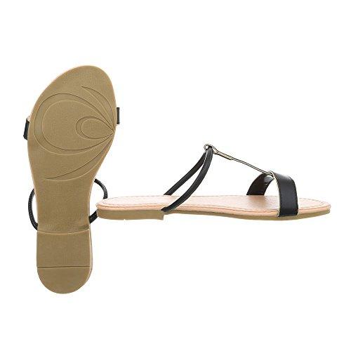 Blockabsatz Schwarz Sandaletten Sandalen Damenschuhe PM203 Design Pantoletten Ital tfqFHH